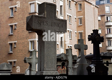 Pere Lachaise Cemetery located in the 20th arrondissement is the largest cemetery in the city of Paris - Stock Photo