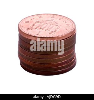 Pile of British pennies - Stock Photo