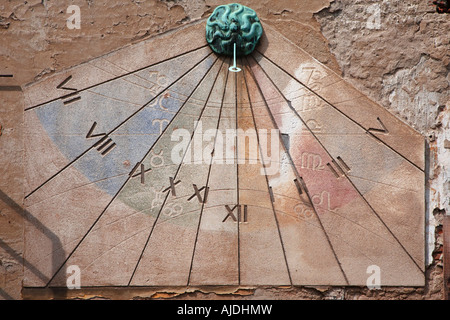 Sundial also known as a shadow clock found on a stone wall in Upper Town of Zagreb, Croatia. - Stock Photo