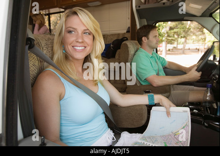 Family Road Trip in RV - Stock Photo