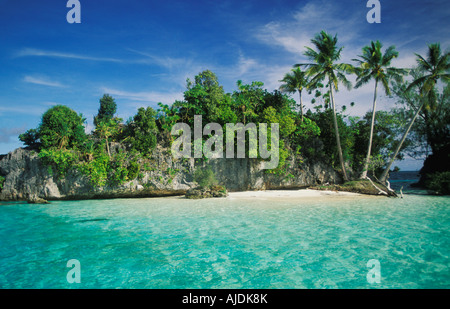 Jungle covered Limestone Outcrops at the Rock Islands in Palau - Stock Photo