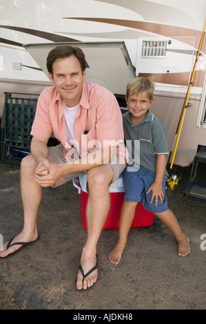 Father and Son by RV - Stock Photo