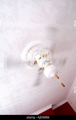 White ceiling fan with built in light fitting on a period ceiling with a textured patterned surface with blades - Stock Photo
