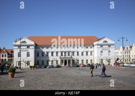 Mecklenburg Western Pomerania Wismar Rathaus Town Hall Townhall Hansestadt Marktplatz Am Markt Marketplace Market - Stock Photo