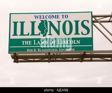 Welcome to Illinois Sign USA, - Stock Photo