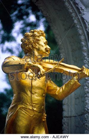 Statue of Johann Strauss Stadt Park City Park Vienna Austria - Stock Photo