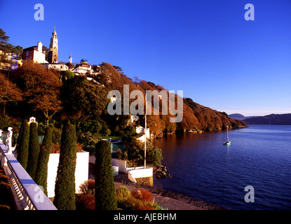 Portmeirion View of village and Dwyryd estuary in autumn Gwynedd North Wales - Stock Photo