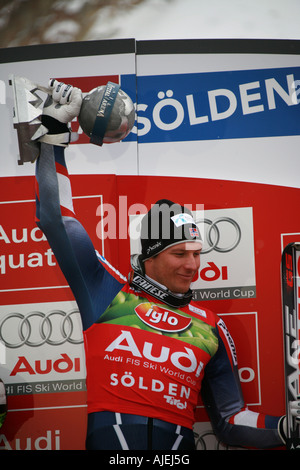 Axel Lund Svindal winner world cup giant slalom Solden Austria october 2007 - Stock Photo
