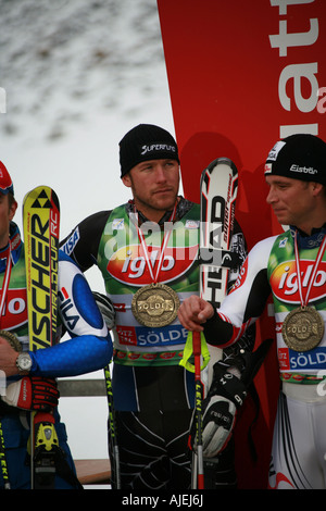Bode Miller Benny Reich Solden Austria World Cup Opening skiing event Oct 2007 - Stock Photo