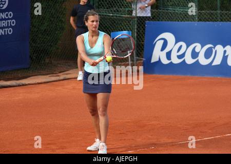 Estoril Open 2007 - Women's 1st round qualifying - Iryna Kuryanovich vs Shikha Uberoi - Stock Photo