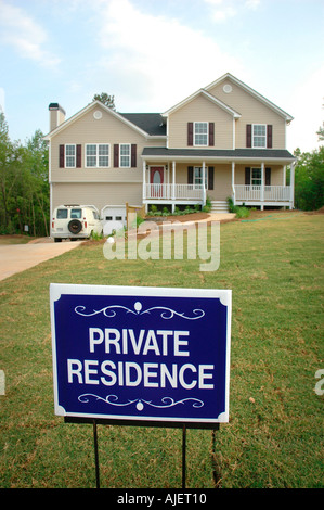 Private Residence sign in front of new house in still under construction building subdivision in Georgia USA America - Stock Photo