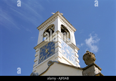 Tower with clock and sundial on a renovated Church at Chislehampton Oxfordshire England - Stock Photo