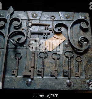 A set of old and rusty keys in the Agents Room at Erddig Wrexham Wales - Stock Photo