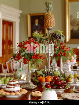 Close up of the centre piece in the Dining Room set for dessert at Berrington Hall - Stock Photo