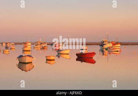 Boats in Santa Luzia Tavira Algarve Portugal - Stock Photo