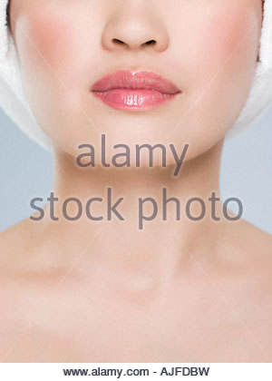 Close up of a young womans face - Stock Photo