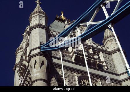 Tower Bridge Detail, River Thames, London, UK - Stock Photo