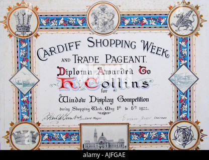 Diploma for Shop Window Display Competition Cardiff 1922 History Wales - Stock Photo