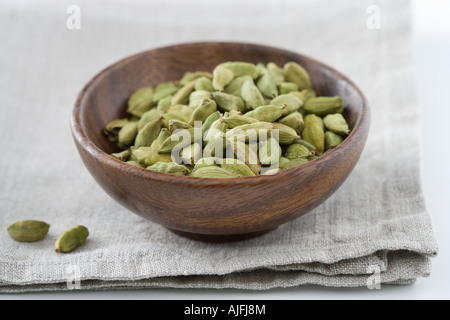 Cardamom seeds in a bowl - Stock Photo