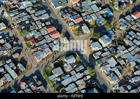 Aerial view of an informal settlement on the Cape Flats western cape South africa - Stock Photo