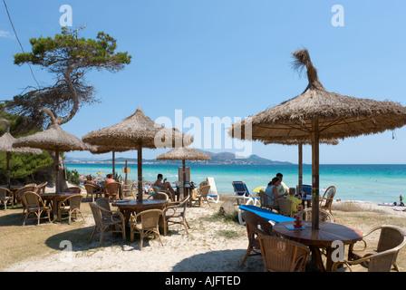 Beach Bar, Platja de Muro, Alcudia, Mallorca, Spain - Stock Photo