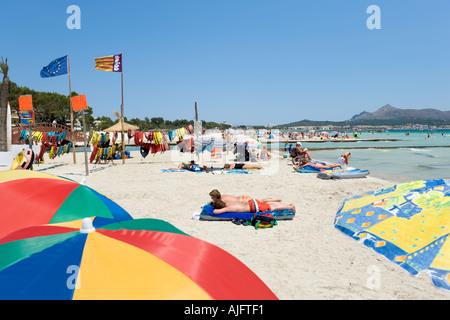 Beach, Puerto de Alcudia, North Coast, Mallorca, Spain - Stock Photo