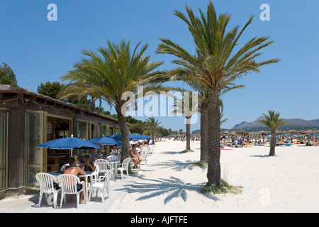 Beach Bar, Puerto de Alcudia, Mallorca, Spain - Stock Photo
