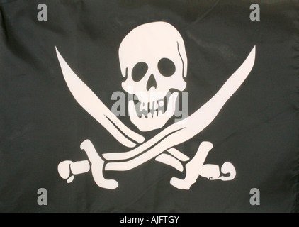 Jolly Roger pirate flag - Stock Photo