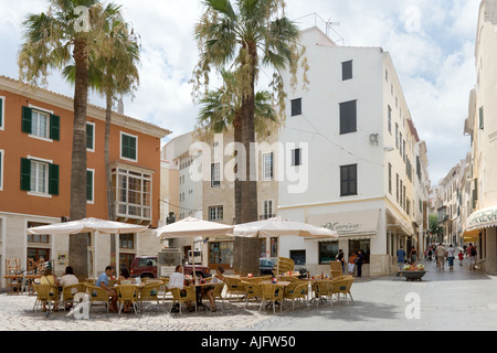Sidewalk cafe in the old town, Mahon, Menorca, Balearic Islands, Spain - Stock Photo