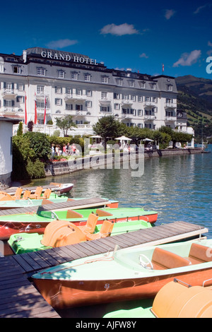 Boats for hire on Zeller See, Zell am See in Austria - Stock Photo