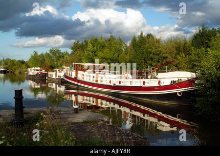 River Saone in the Cote D Or France Boats on an Old Lock at St Jean de Losne near Dijon - Stock Photo