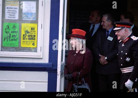 HRH Queen Elizabeth II on halfpenny pier Harwich Essex. - Stock Photo
