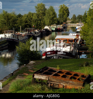 River Saone in the Cote D Or France Boats on an Old Canal Lock at St Jean de Losne near Dijon - Stock Photo