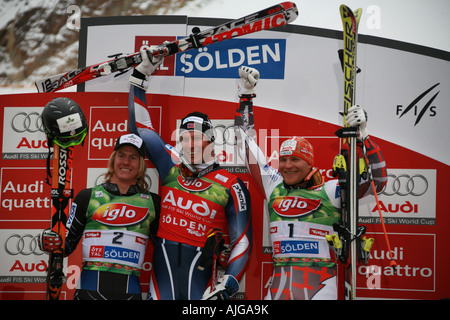 Winners Podium Skiing world cup Giant Slalom Solden Austria October 2007 Ted Ligety Axel Lund Svindal Kalle Palander - Stock Photo
