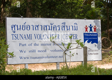 Tsunami Volunteer Center sign Khao Lak Thailand - Stock Photo