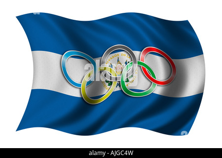 Flag Of El Salvador With Olympic Symbol Stock Photo 14733012 Alamy