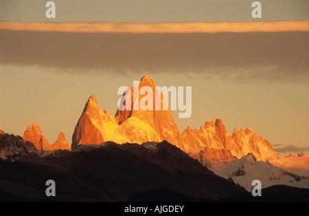 Mt Fitzroy range at dawn seen from El Chalten, Los Glaciares National Park, Patagonia, Argentina - Stock Photo