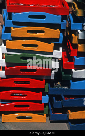 Selection of Masai shields made from hide and painted with geometric motifs for sale on a stall As sold - Stock Photo