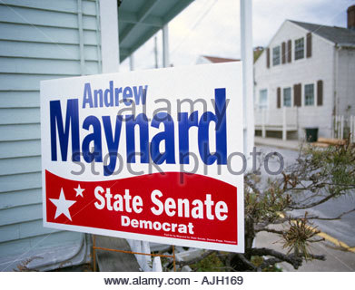 Political billboard during US presidential election Connecticut USA Oct 2004 - Stock Photo