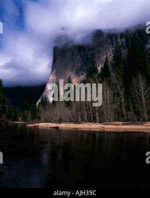 El Capitan shrouded in low cloud in Yosemite Valley California USA - Stock Photo