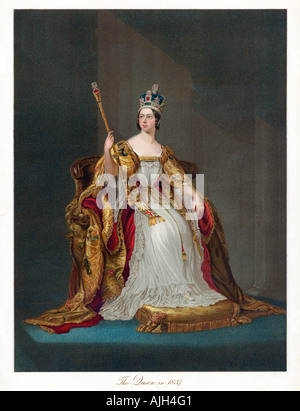 Queen Victoria in 1837, coronation portrait of the British Queen from a souvenir published to mark her Golden Jubilee - Stock Photo