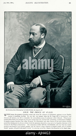 Prince of Wales 1895 photo in Racing Illustrated of the royal patron of the turf and future Edward VII - Stock Photo