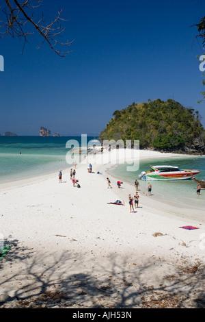 Visitors on the white sand beach Ko Poda island off Ao Nang Thailand Stock Ph...