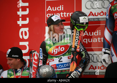 Ted Ligety on Podium Solden Skiing World Cup October 2007 - Stock Photo