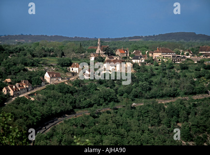 The village of L' Hospitalet viewed from Rocamadour - Stock Photo