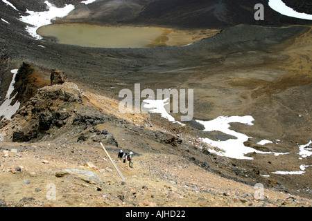 Climbing Red Crater view to South Crater below Tongariro Crossing Tongariro National Park North Island New Zealand - Stock Photo
