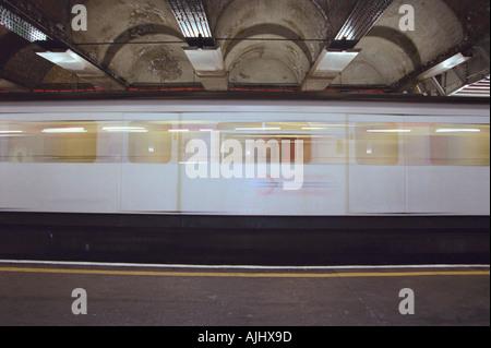 Blurred subway train - Stock Photo