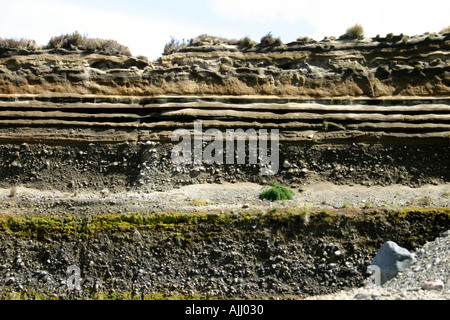 layers of volcanic deposits and ash from previous eruptions of Mt Ruapehu and Ngauruhoe New Zealand - Stock Photo