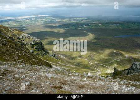 from Muckish Mountain facing northwards, near Creeslough and Dunfanaghy, Donegal, Ireland (towards Clonmass Bay - Stock Photo