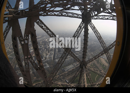 Eiffel Tower fish eye lens Wide angle foggy misty view looking down on River Seine from the lift - Stock Photo